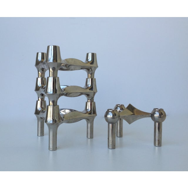 Mid-Century; rare set of 4, Fritz Nagel and Ceasar Stoffi, chrome-plated, heavy, modular, stackable set of 4...