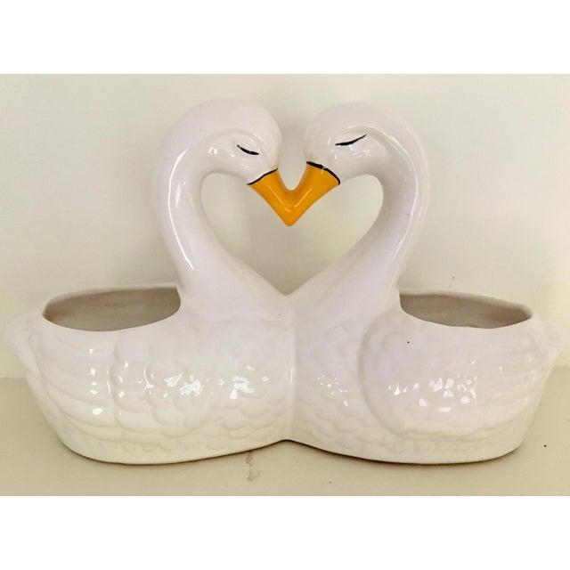Ceramic Vintage Mid Century Brazilian Ceramic Kissing Swans Double Planter For Sale - Image 7 of 7