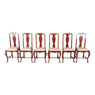 19th Century Queen Anne Mahogany Dining Chairs - Set of 6 For Sale