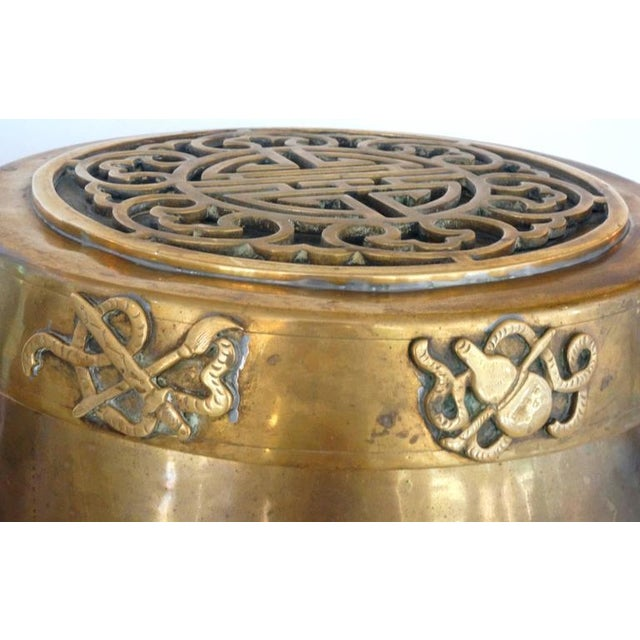 Hollywood-Regency, Brass Garden Stool / Side Table, Asian Motif with a Removable Lid - Image 7 of 10