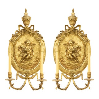 French Louis XV Bronze Dore Wall Sconces-a Pair For Sale