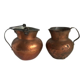 Antique Rustic Copper Vessels - Set of Two