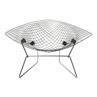 Vintage Bertoia Chrome Diamond Lounge Chair For Sale