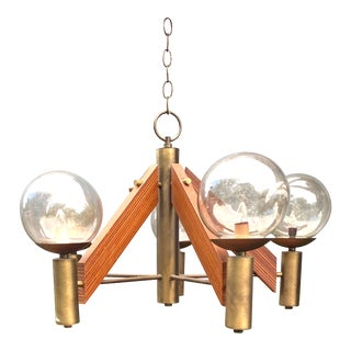 Vintage Danish Modern Teak and Brass 5 Globe Chandelier For Sale