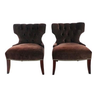 Room & Board Brown Tufted Upholstered Chairs - a Pair For Sale