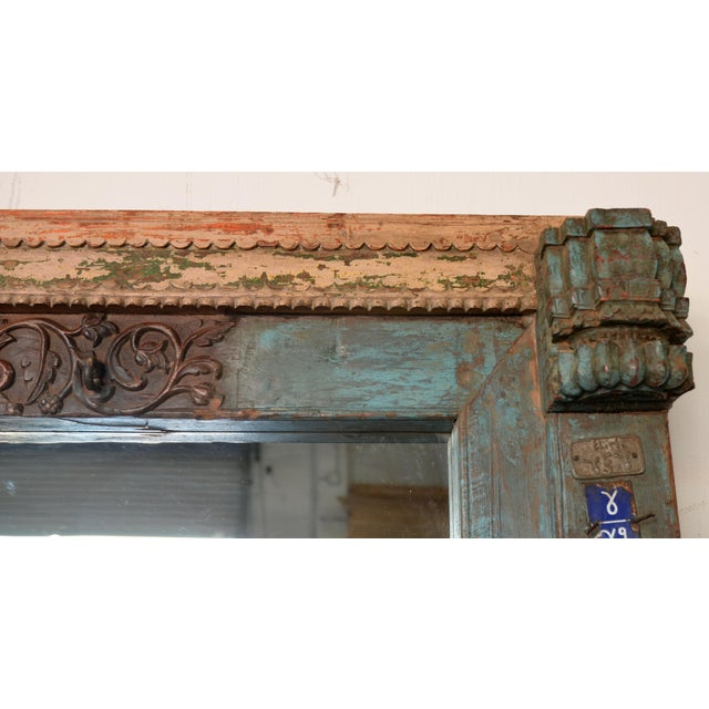 Glass Antique Wood Carved Mirror For Sale - Image 7 of 11