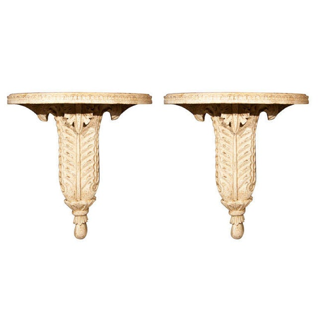 Plaster Wall Brackets by Jansen - A Pair - Image 1 of 6