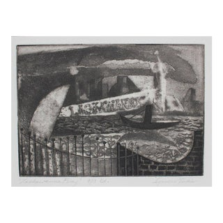 "Seymour Tubis ""Lackawanna Ferry"" Monochromatic Seascape Etching on Paper, 1947 For Sale"