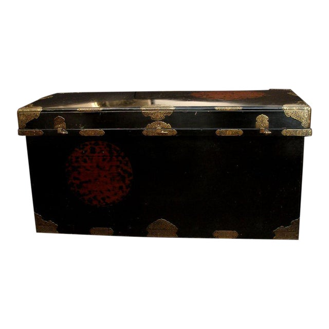 Japanese Imperial Black Lacquer Dowry Trunk (Nagamochi) - Image 1 of 9