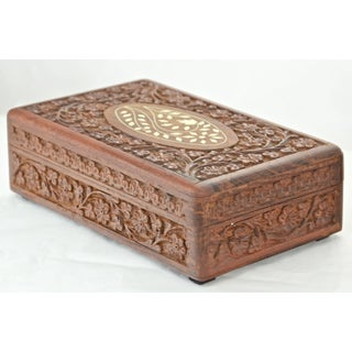 Vintage Mid-Century Inlaid Bone & Carved Wood Box Preview