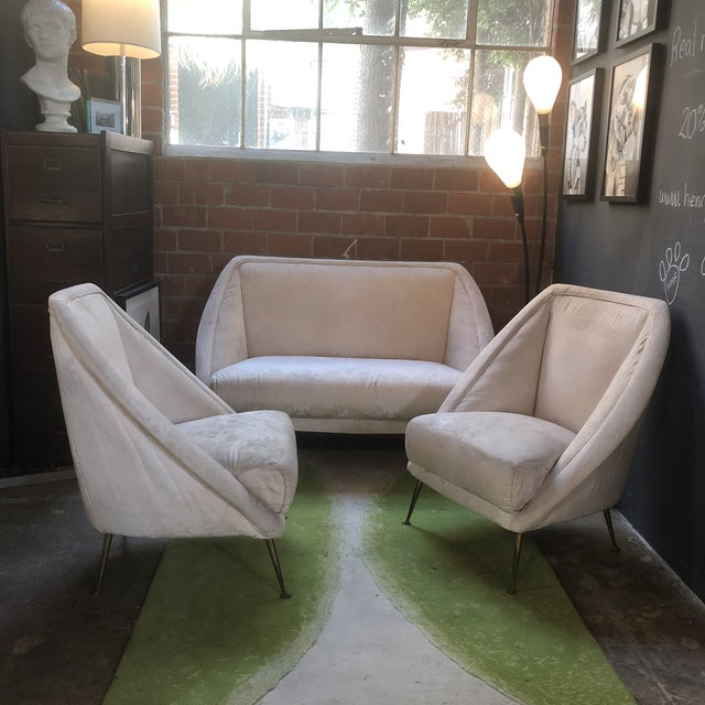 Rare model of sofa and lounge chairs designed by Guglielmo Veronesi and created by Pigoli's brothers from Cabiate, Italy,...