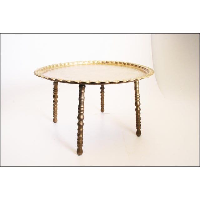 Vintage Moroccan Ornate Brass Charger Coffee Table - Image 2 of 11