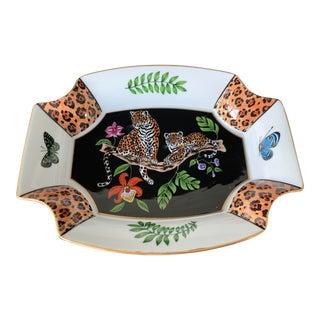 1996 Lynn Chase Jaguar Jungle Porcelain Tray For Sale