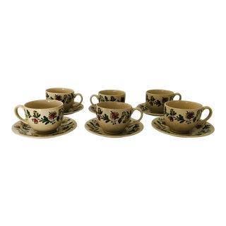 Vintage Johnson Bros Gretchen Set of 6 Cups and Saucers For Sale