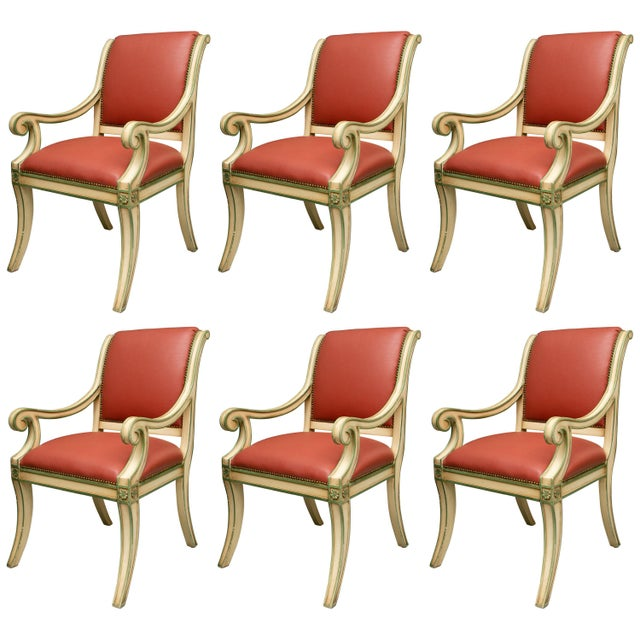 Regency Style Painted Dining Chairs - Set of 6 For Sale - Image 12 of 12