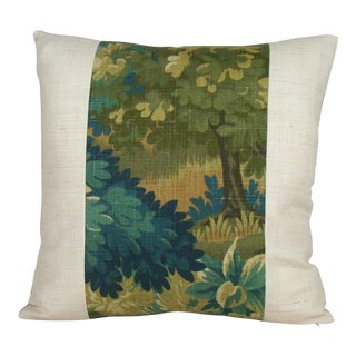 Verdure Print Linen & Ivory Raw Silk Pillow Cover For Sale