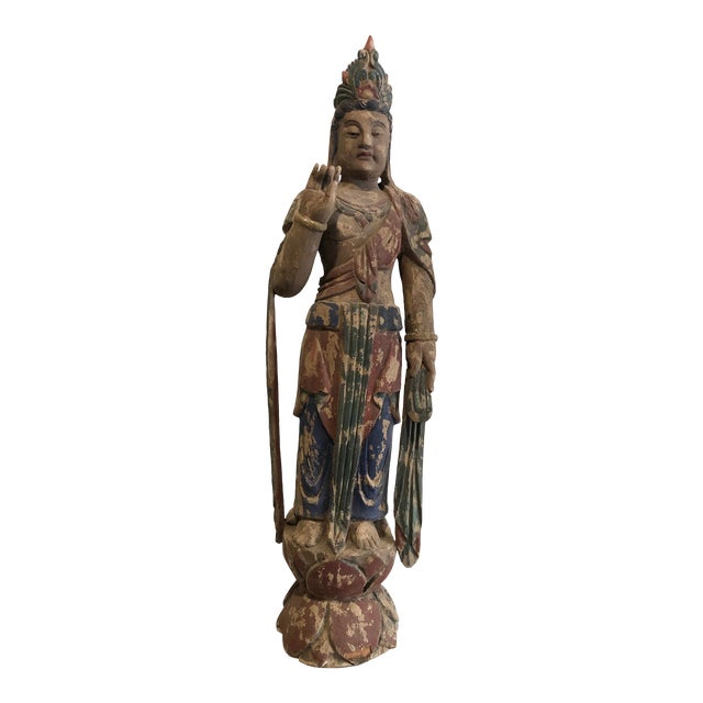 Antique Buddhist Carved Wood Guanyin Figure For Sale