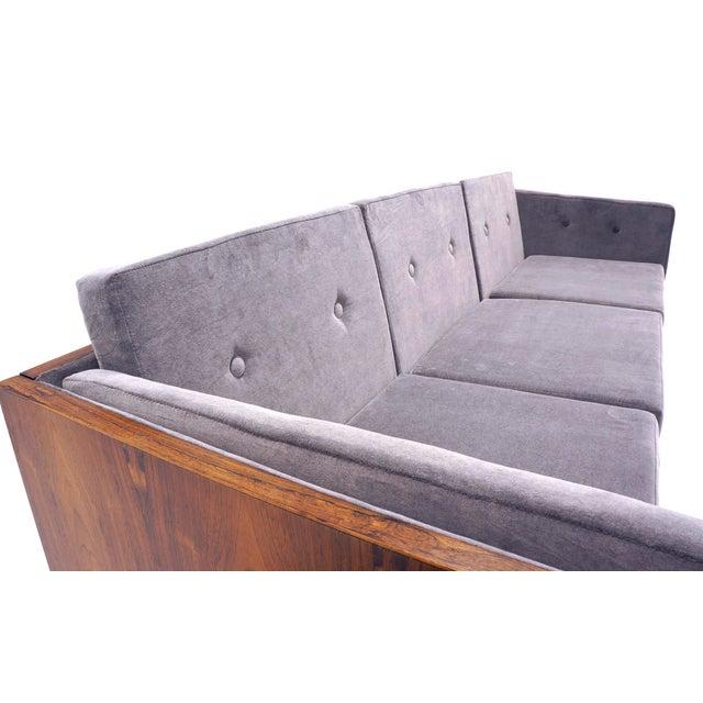 Mid-Century Modern Danish Modern Rosewood Case Sofa by Jydsk Møbelværk, Gray Velvet Upholstery For Sale - Image 3 of 8