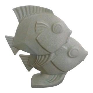 1920s Art Deco Celadon Ceramic Double Fish Sculpture For Sale