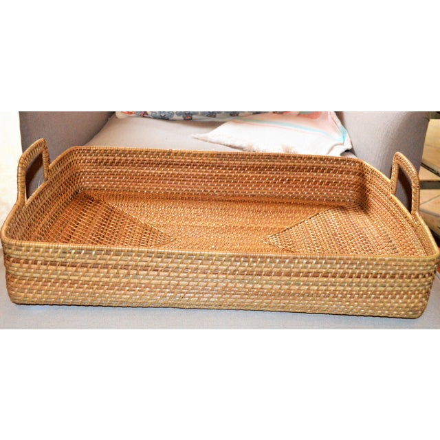 Cottage Cottage Style Rattan Woven Large Handled Tray For Sale - Image 3 of 9