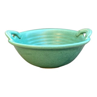 Signed Green Studio Art Pottery Bowl For Sale