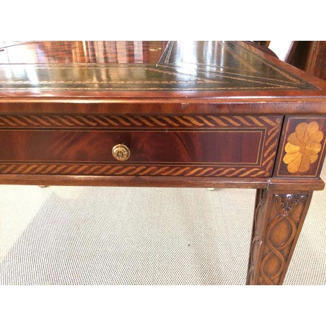 Inlaid & Tooled Leather Game Table - Image 3 of 4