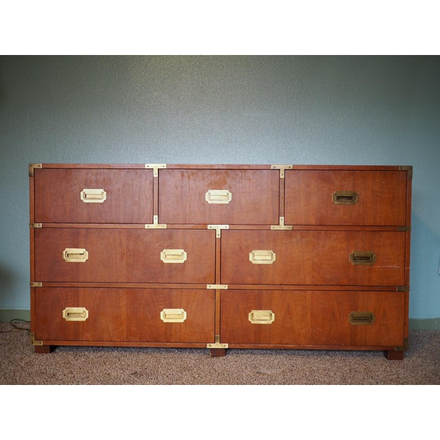 20th Century Campaign Baker Furniture Mahogany Dresser For Sale - Image 9 of 9
