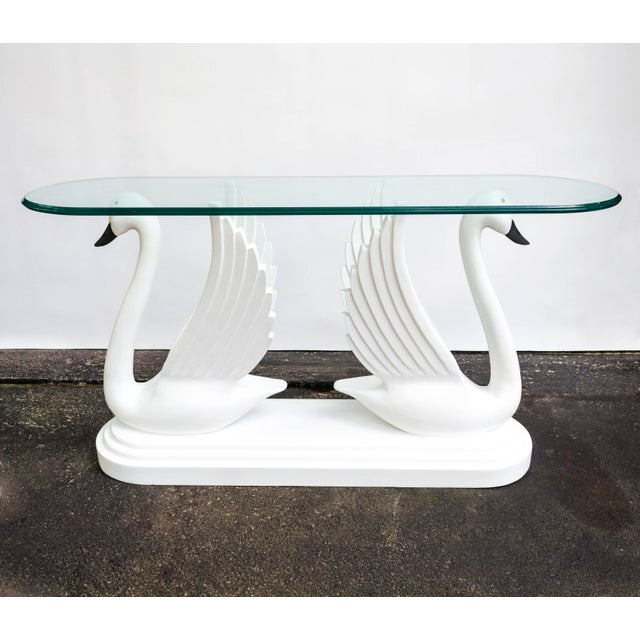 Contemporary Double Swan Glass Top Console Table For Sale - Image 3 of 13