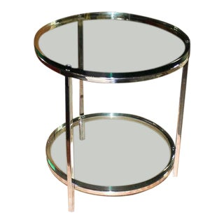 Round Chrome Two Tier Glass Top Mid Century Modern End Center Table For Sale