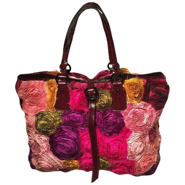 Valentino Multicolor Silk Rosier Rosettes Tote Bag For Sale - Image 10 of 10