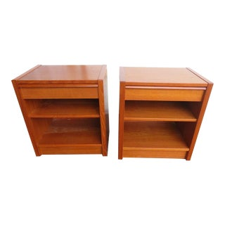 Mid-Century Modern Danish Teak Nightstands - a Pair For Sale