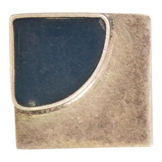 Mid-Century Mexican Modernist Silver & Lapiz Azul Pendant For Sale