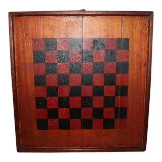 Folky Reversible 19th Century Oversize Original Painted Game Board