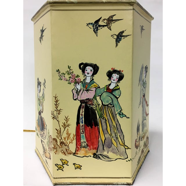 English export Chinoiserie style, cream hexagonal tea caddy lamp accented with garden scenery , birds , flowers, bushes...