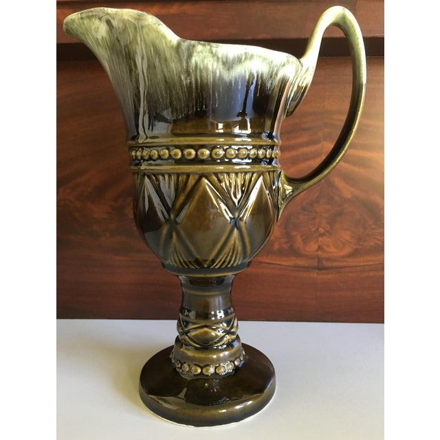 Mid-Century Modern Hull Pottery Brown and Green Glazed Chalice and Footed Pitcher - a Pair For Sale - Image 3 of 13