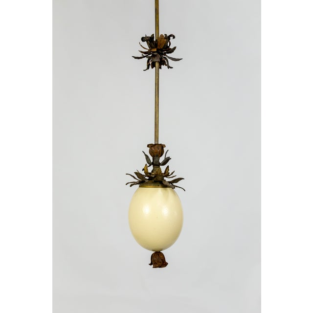 Ostrich Egg and Antique Metal Pendant For Sale - Image 13 of 13