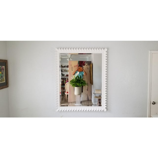 White Marge Carson Scalloped Wall Mirror . For Sale - Image 8 of 9