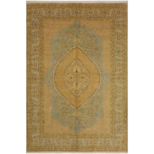 Baby Blue Semi Antique Istanbul George Lt. Blue/Gold Turkish Hand-Knotted Rug -5'8 X 7'4 For Sale - Image 8 of 8
