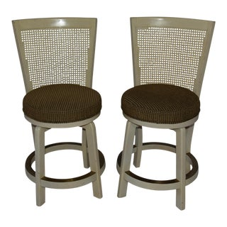 Hollywood Regency Cane High Back Round Swivel Seat Barstools - a Pair For Sale
