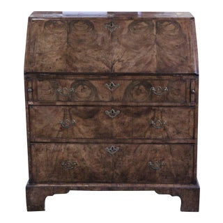 18th Century English George II Walnut Burl Slant Top Desk For Sale