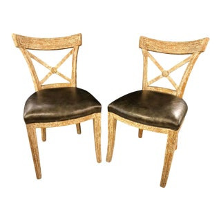 Pair of Black Leather Seat Side Chairs, Hollywood Regency Design For Sale