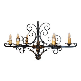 French Old World Wrought Iron Fixture For Sale