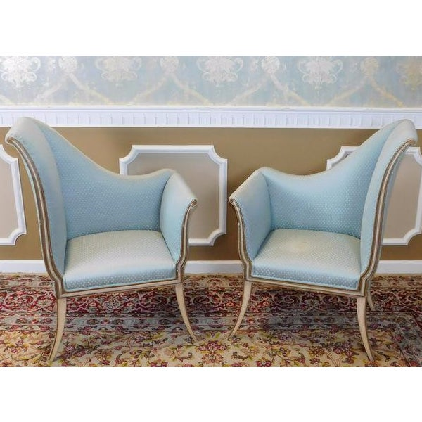 Mirrored French Louis 1950s Hallway Chairs - Pair - Image 2 of 9