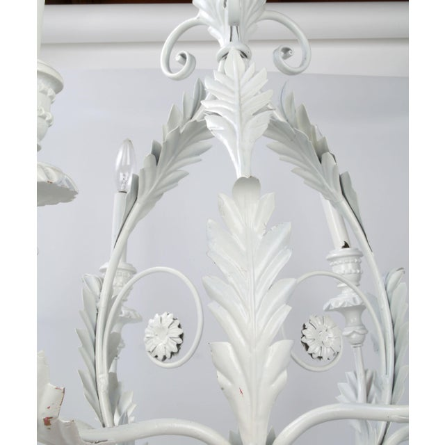 White Italian Metal Flower Leaf Chandelier For Sale - Image 8 of 10