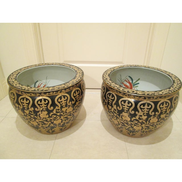 Porcelain Fishbowl Jardinieres - A Pair - Image 2 of 6