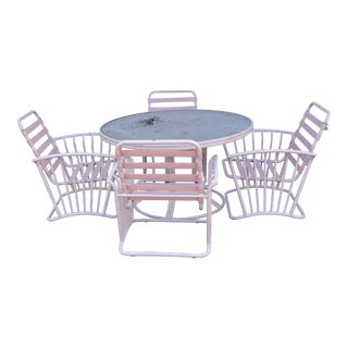 Vintage Pink Brown Jordan Patio Dining Set For Sale