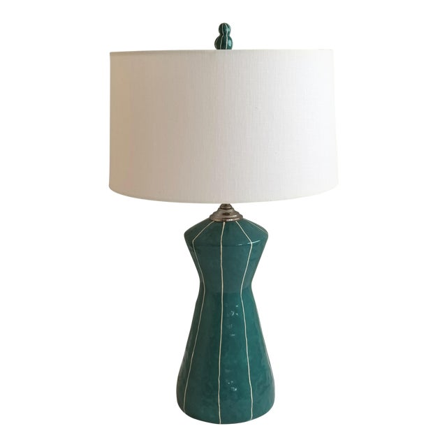 kRI kRI Studio Teal Blue Ceramic Table Lamp For Sale