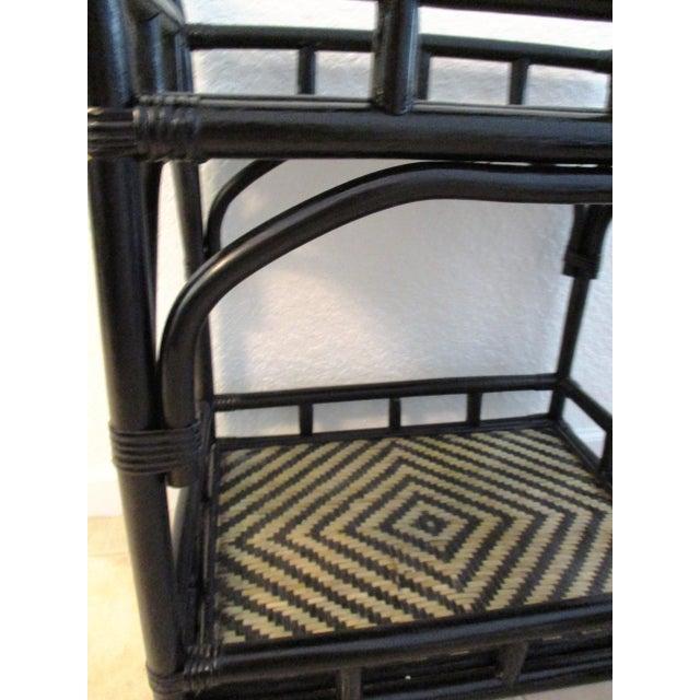 Wood Black & Tan Bamboo & Rattan Rolling Bar Cart For Sale - Image 7 of 9