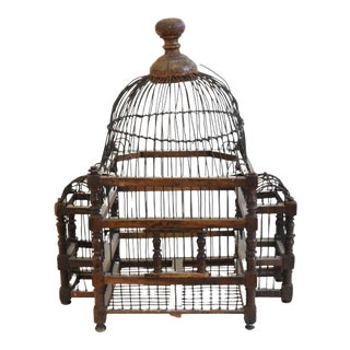 Antique Primitive Rustic French Wood & Wire Birdcage For Sale