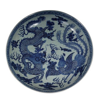 Vintage Chinese Porcelain Dragon and Phoenix Plate